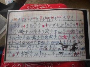 Kunacode, deze tekeningen staan voor 6 uur zingen. Echt een schrift zou ik het niet noemen.